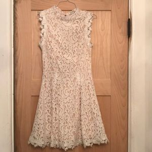 Francesca's Open Back White Lace Dress